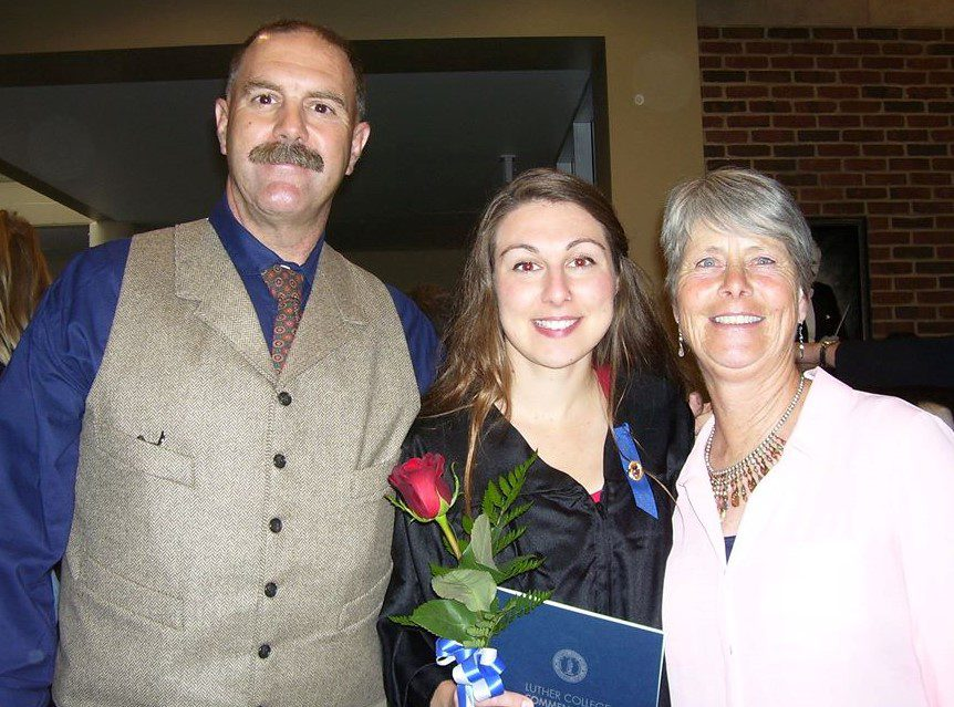 Thomas Hansen with daughter, Addie, and wife, Jeanett at college graduation.